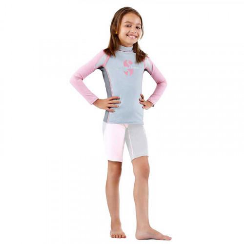 Детски комплект за момичета с UV защита ликра с дълги ръкави и къси панталонки до коляното SPF 80 REBEL RASH GUARD & SHORT - Scubapro