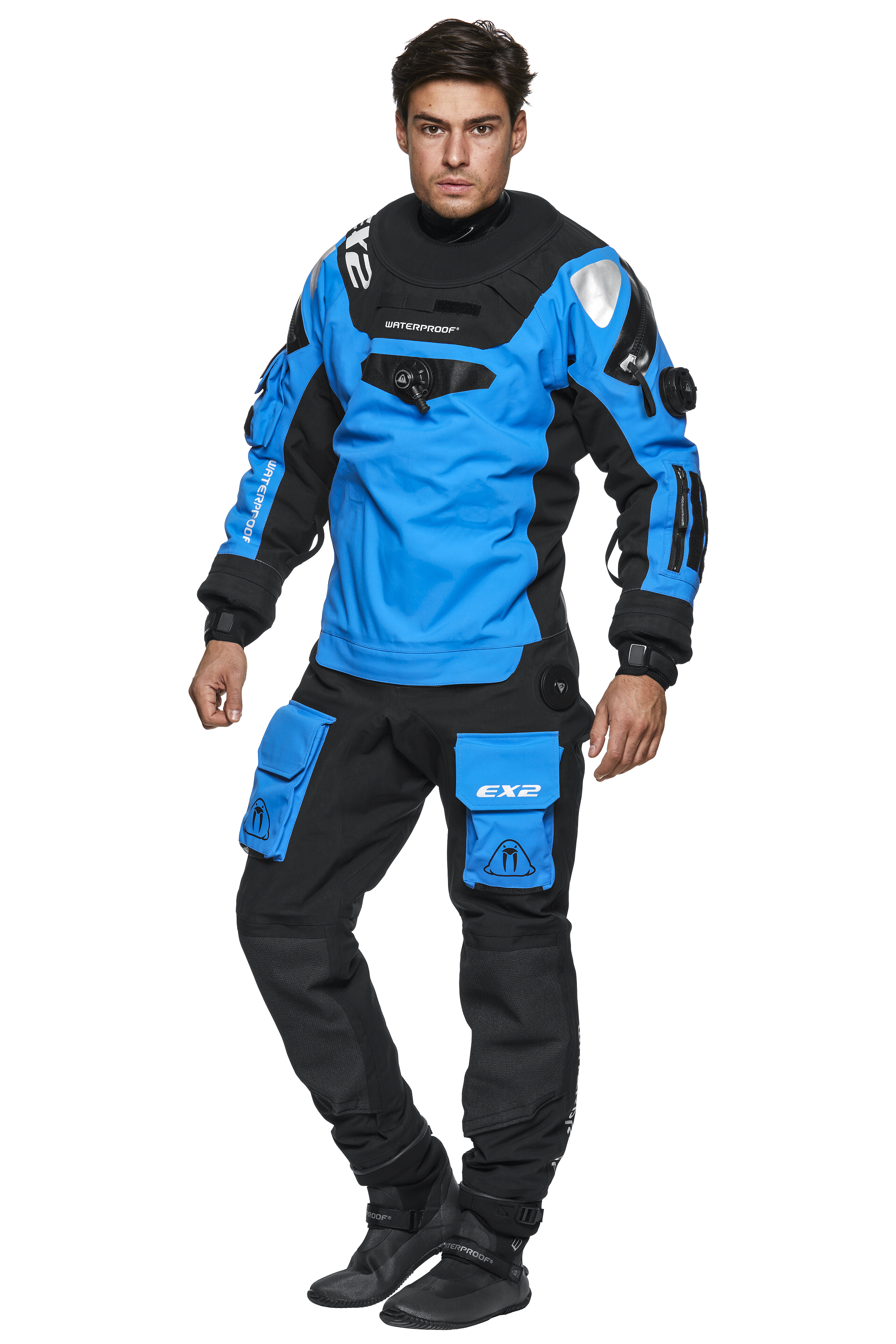 Сух водолазен костюм изработен от дишаща материя EX2 BLUE BRETHABLE DRYSUIT - Waterproof