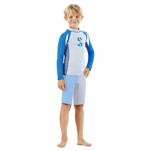 Детски комплект за момчета с UV защита ликра с дълги ръкави и къси панталонки до коляното SPF 80 REBEL RASH GUARD & SHORT - Scubapro