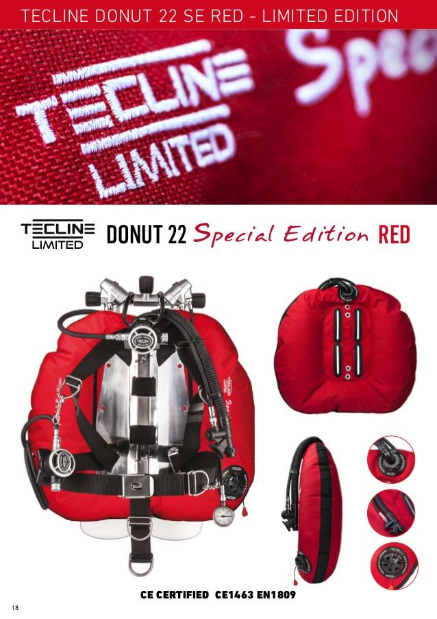 Водолазно крило за техникъл дайвинг DONUT 22 Special Edition Limited RED - Tecline